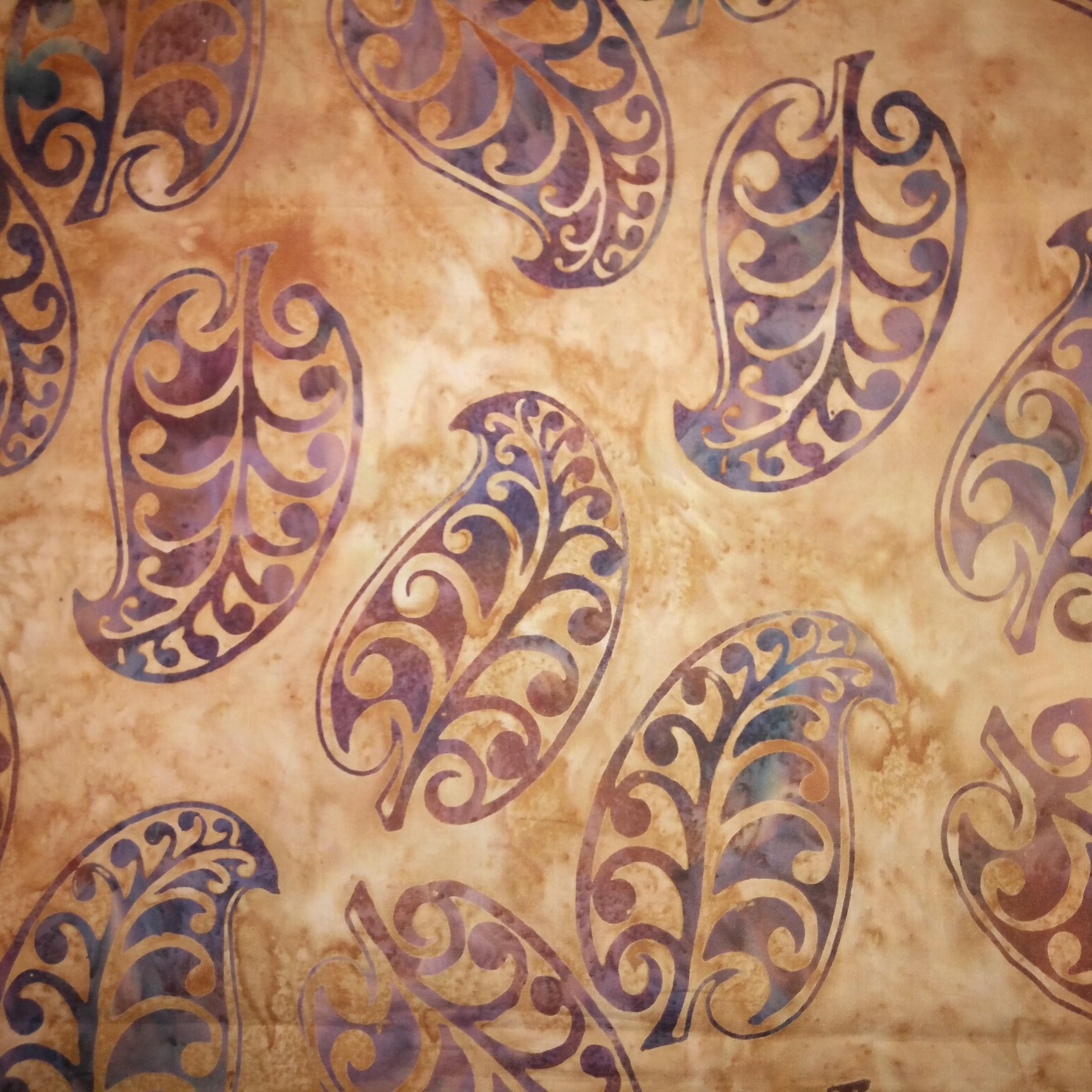 buy online 521a3 d8a6a Batik - Bali - New Zealand - Leaf - Amber - Fat Quarter